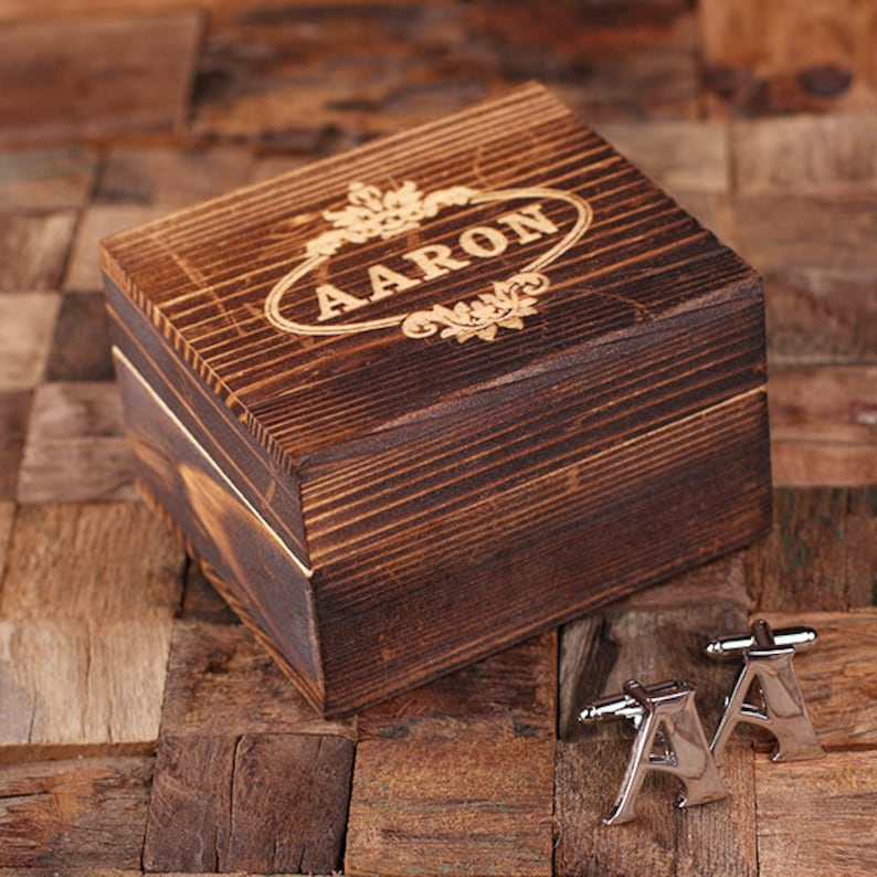 Initial A Personalized Men/'s Classic Cuff Link with Wood Box Monogrammed Engraved Groomsmen Best Man Father/'s Day Gift