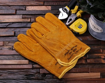 Personalized Leather Suede Gardening, Construction Worker Gloves Gift for Men (024427)