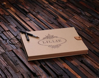 11.5 x 8.25 (large) Engraved Personalized Catalog Journal Monogrammed Wedding Gift Customized Scrap Guest Book (024404)