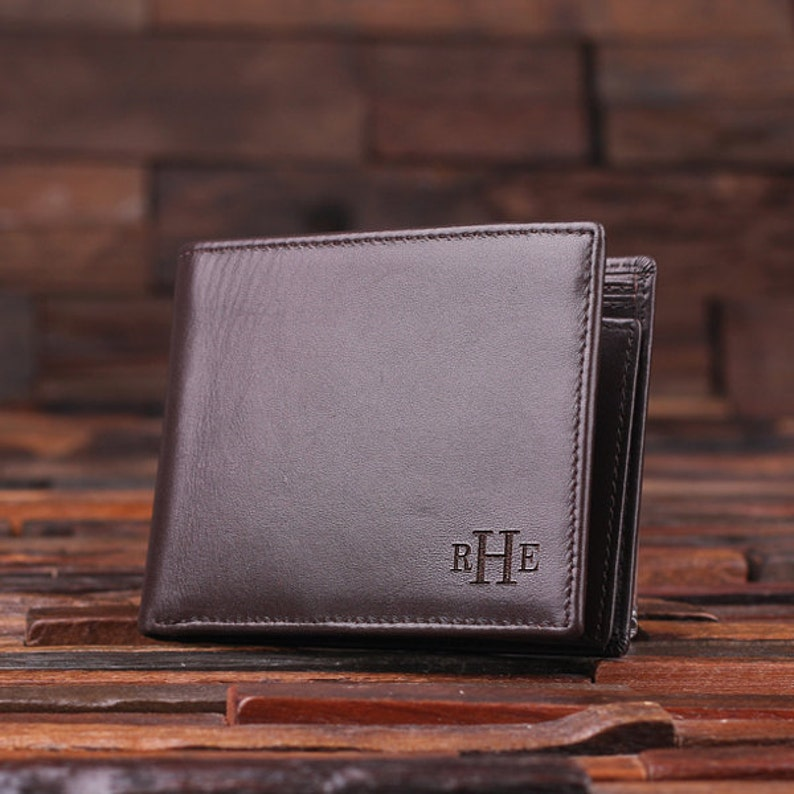 7467b1702bd9 Personalized Monogrammed Engraved Genuine Leather Bifold Mens