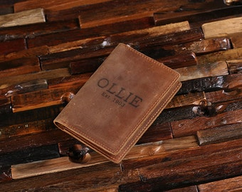 Personalized Engraved Leather Passport Holder, Travel Wallet, Passport Case, Document Wallet