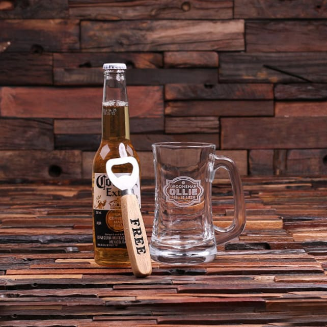 Set of 9 14 oz. Pint Beer Mug Glass with FREE Wood Bottle Opener Personalized, Etched and Engraved (024698) Groomsmen Gift