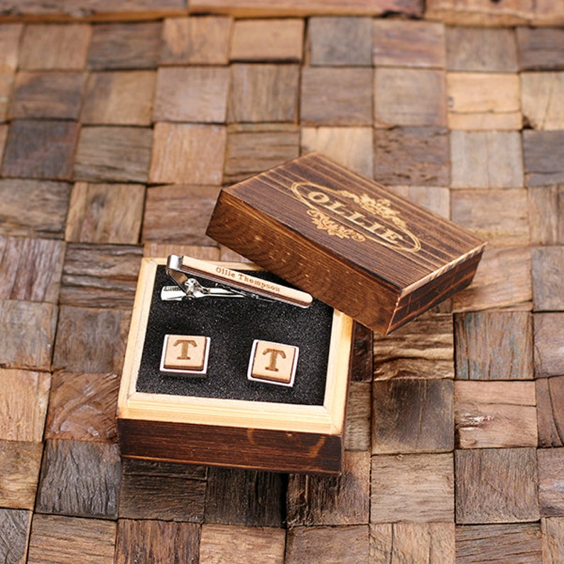 Best Man Father/'s Day Gift Personalized Men/'s Classic Round Wood Cuff Link and Wood Tie Clip Monogrammed Engraved Groomsmen