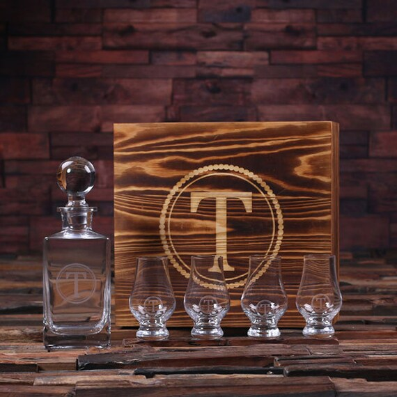 Personalized Engraved Etched Scotch Whiskey Decanter Bottle and Sniffers Wood Box Groomsmen, Man Cave, Christmas Gift for Him item 025266