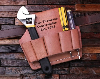 Leather Tool Belt Personalized Monogrammed Engraved Men's, Father Day, Dad Construction Worker Gift (024420)