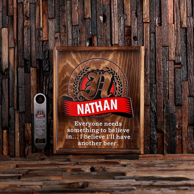 Beer Cap Holder Personalized Shadow Box FREE Bottle Opener image 0