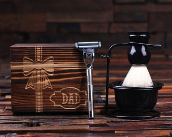 Father's Day Personalized Monogrammed Shaving Kit, Brush and Mach 3 Razor with Wood Box Father's Day Limited Edition