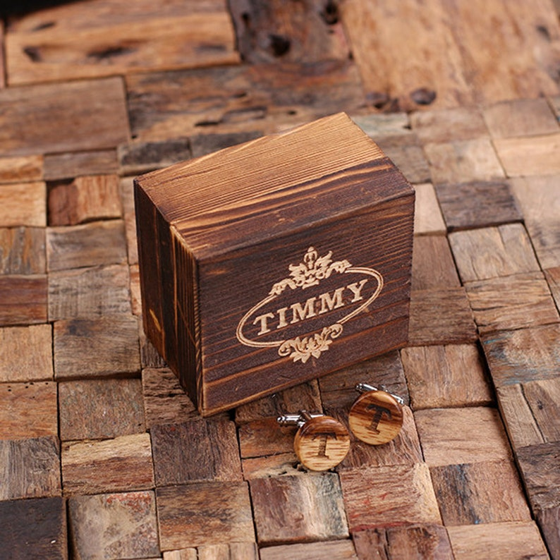 Father/'s Day Gift Personalized Men/'s Classic Round Wood Cuff Link Monogrammed Engraved Groomsmen Best Man