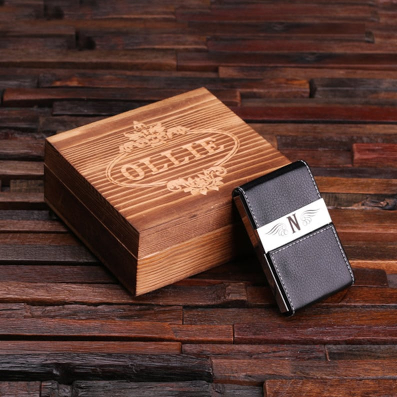 Personalized Leather Engraved Monogrammed Business Card Holder image 0