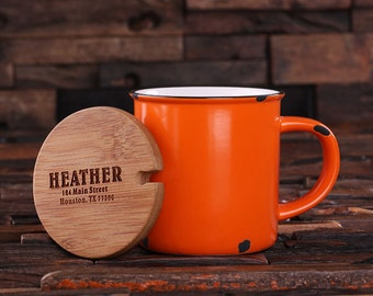 11 oz. Personalized Orange Enamel, Ceramic Porcelain Coffee Cup Mug with Engraved Bamboo Lid