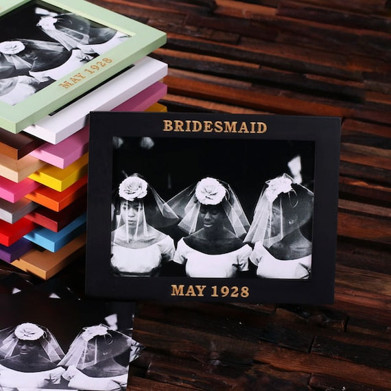 Black Personalized Wood Picture Photo Frames Engraved and Monogrammed Colorful Bridesmaid Gift or Room Decoration