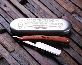 Father's Day Personalized Straight Razor Blade with Tin Box Father's Day Limited Edition