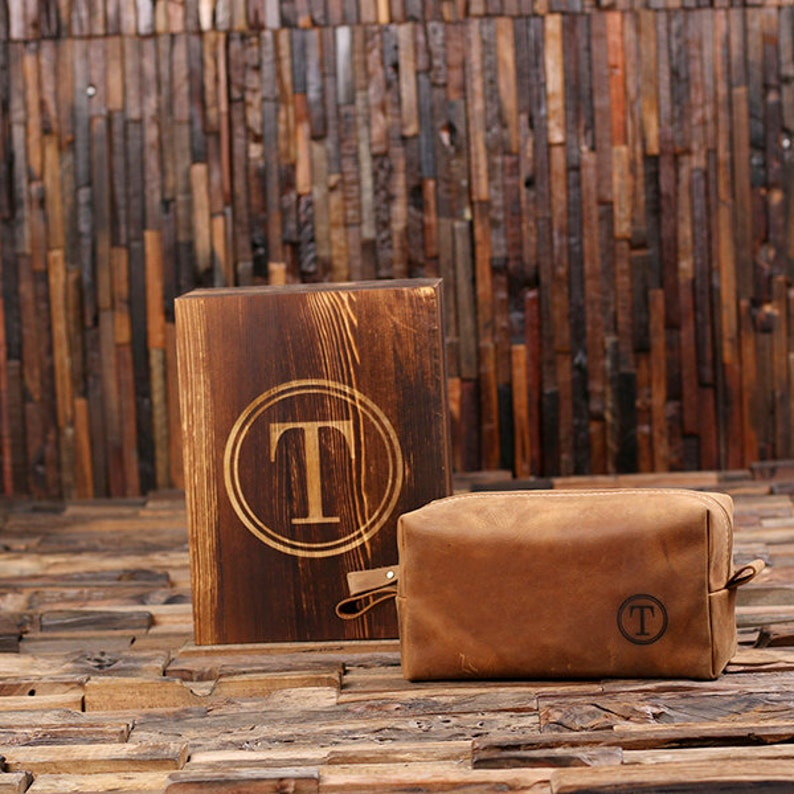 Personalized Leather Toiletry Bag Dopp Kit Leather Shaving image 0