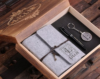 4pc Women's Gift Set Personalized Felt Journal, Monogrammed Key Chain, Pen and Wood Box (024952) Sample In Grey
