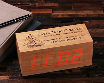 Engraved Personalized Digital Wood Alarm Clock Customized Graduate Gift Monogrammed (024341)