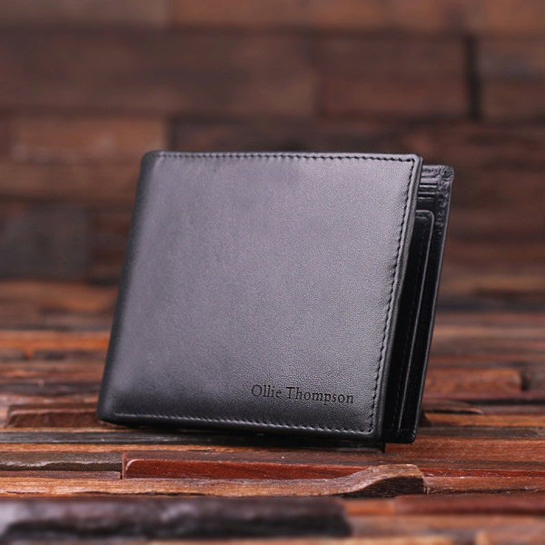 1c7e86d5d907 Personalized Monogrammed Engraved Genuine Leather Bifold Mens Wallet with  Option... Personalized Monogrammed Engraved Genuine Leather Bifold Mens  Wallet ...