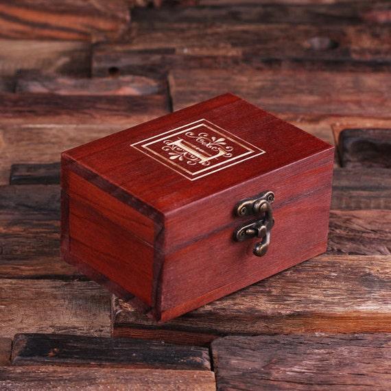 Set of 7 Personalized Wood Vintage Wedding Bridesmaids Gift Treasure Trunk Box Jewlery Box Monogrammed Customized Engraving  (024334)