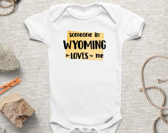 Someone in Cheyenne Loves Me Cheyenne Wyoming Skyline Heart Baby Onesie