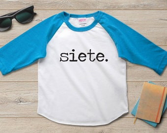 Siete 7th Birthday Shirt Outfit Boy Party Gift Girl 7 Year Old