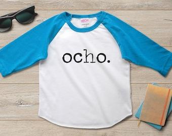 Ocho 8th Birthday Shirt Outfit Boy Party Gift Girl 8 Year Old Ideas