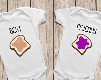 bf0451b72 Best Friend ONESIES ® or Baby T-Shirt Twin Onesies Peanut Butter and Jelly  Shirts Best Friends Forever Twins Baby Gifts Hipster Baby Clothes
