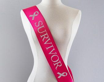 Cancer Survivor Sash, Cancer Survivor Gift, Cancer Survivor Party, Breast Cancer Gifts, Breast Cancer Ribbon, Cancer Awareness, Pink Ribbon