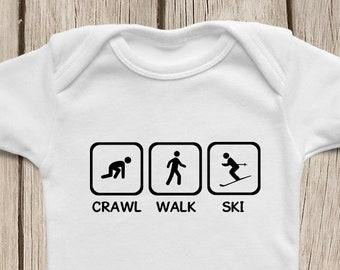Crawl Walk Ski ONESIES ® Brand Bodysuits Baby Bodysuit or Baby T-Shirt Baby Ski Shirt Ski Baby Shower Gift Baby Skier Clothes, skiing