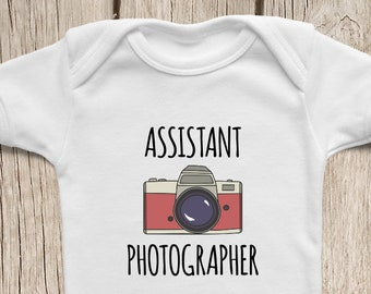 Gift Idea for Photographer Dad, ONESIES ® Brand Baby Bodysuits, Camera Onesie, Photography Shirt, Assistant Photographer Funny Onsie.