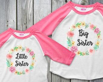 Big Sister Little Sister, Matching Sister Outfits, Big Sister Outfit, Personalized Sister Outfit, Little Sister Reveal, Boho Baby Shower
