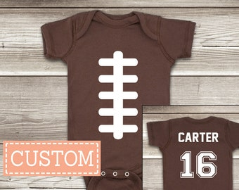 fb02196ae Football ONESIES ® Brand Baby Bodysuit Personalized with Name and Number on  the Back Personalized Football Shirts Custom Football Jersey