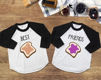 3da7f9c0 Best Friend Shirts, Peanut Butter and Jelly Shirts, Best Friends Raglan Tee,  Best Friends Forever,Twins Baby Gifts,Boy Girl Twins,Twins Kids