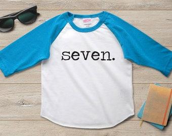 7th Birthday Shirt Boy Girl Seventh 7 Year Old Party Gift Ideas