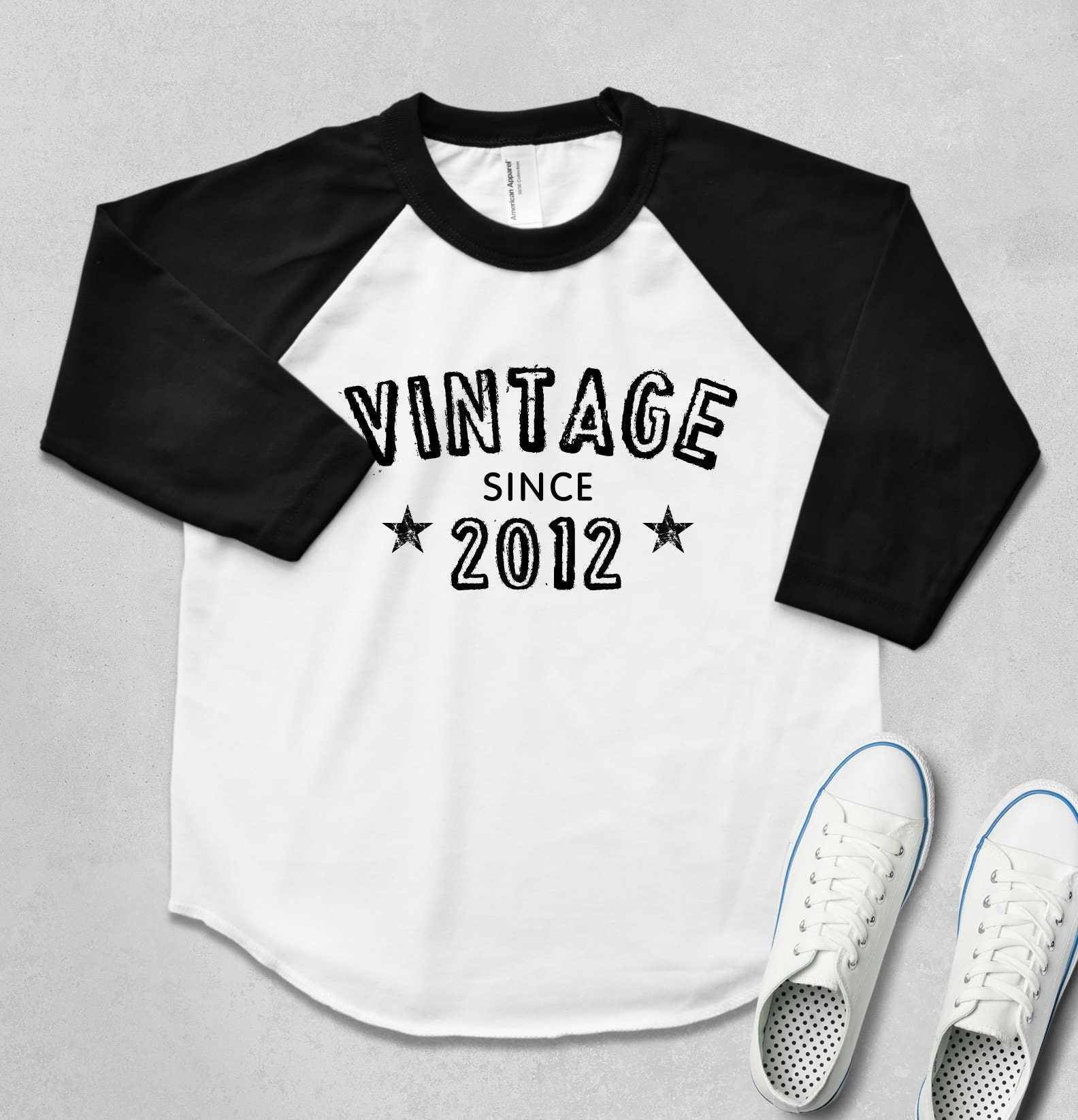 Vintage Design Raglan 34 Sleeve Shirt Colored Sleeve Etsy