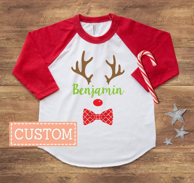 6012b16e1 Personalized Reindeer Shirt Boys Christmas Shirt Pajamas