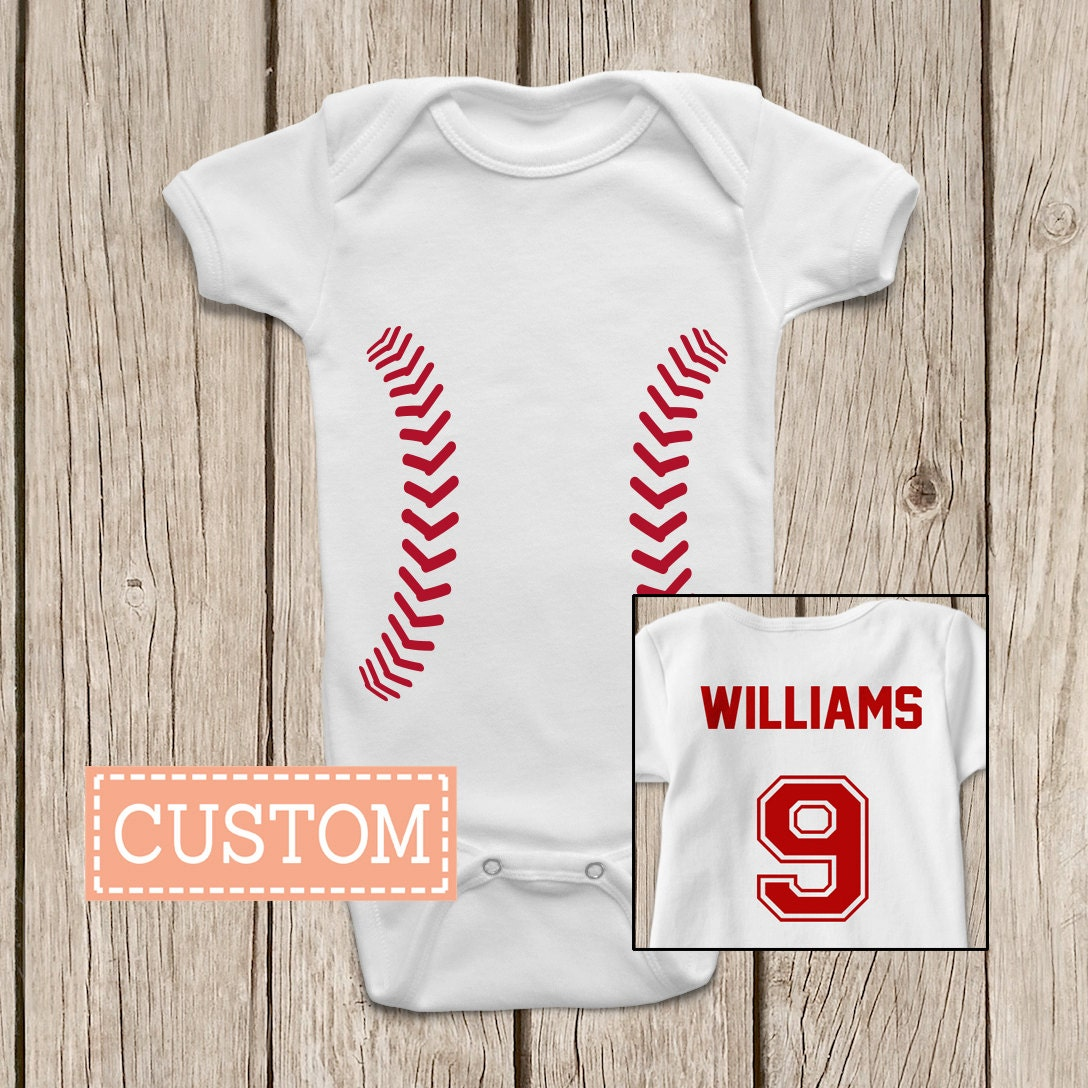Baseball Onesies Brand Baby Bodysuits Personalized With Name And Number On The Back Or Baby T Shirt Custom Baseball Shirt