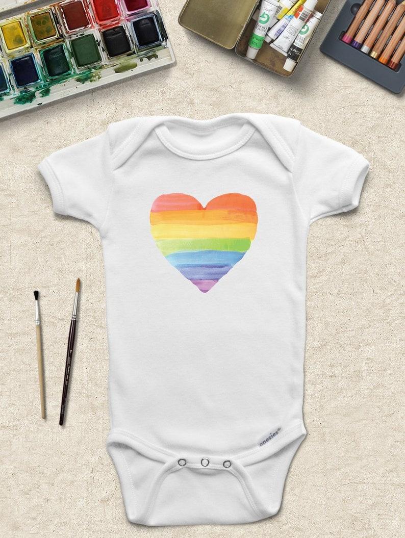 d1cc36fe90a6 Watercolor Rainbow Heart ONESIES ® Gay Pride Onesie LGBT