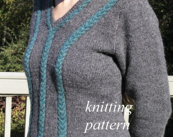 IYI - Knitting Pattern for V-neck Sweater with Colorful Cables