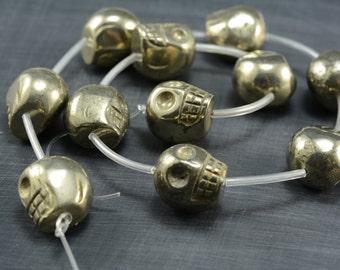 18X14MM Pyrit Edelstein Totenkopf Locker Perlen 6 Perlen