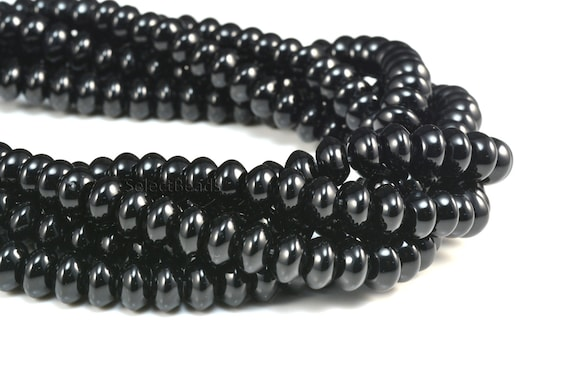 """Natural Smooth Black Agate Gemstone For Jewelry Making Beads 15/"""" Pick Shape/&Size"""