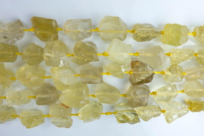 rough lemon quartz chunky nuggets yellow gemstone beads raw stone jewelry beads lemon quartz raw gemstone nuggets beads 15 inch