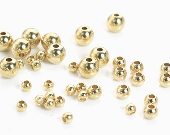 raw brass beads - brass spacer beads -raw brass round beads - small brass beads for jewelry making - metal spacer beads - 50pcs