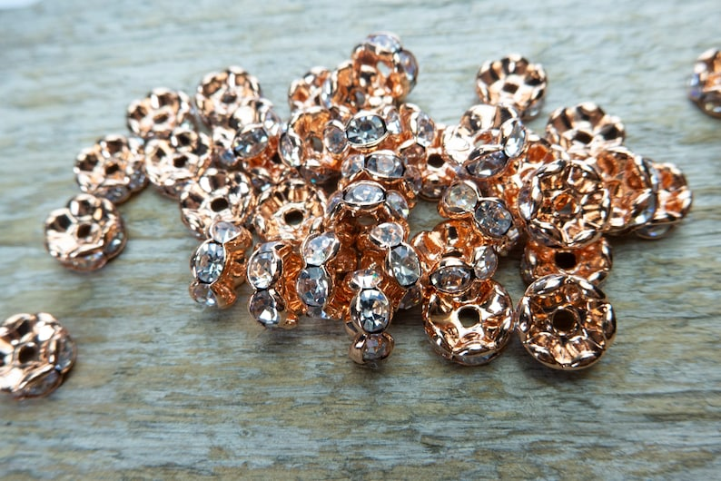 4-12mm spacer beads -100pcs clear crystals spacer bars rose gold plated metal beads rose gold clear rhinestone brass spacer beads