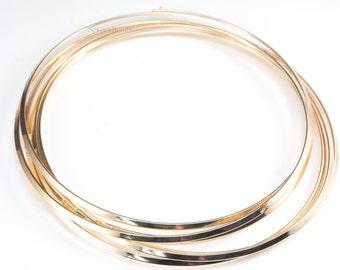 brass choker - gold plated crown base - metal choker necklace - copper jewelry supplier - brass pendant holder - brass cord - 5 pcs