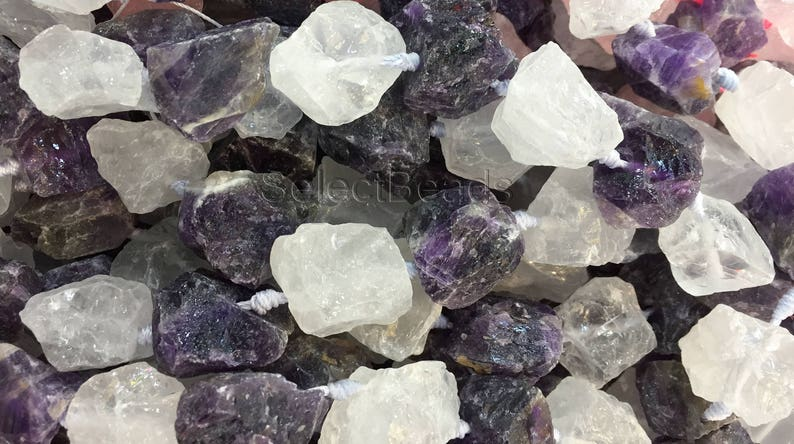 nugget beads wholesale natural gemstone raw nugget beads clear quartz and purple amethyst nuggets raw gemstones wholesale -15inch