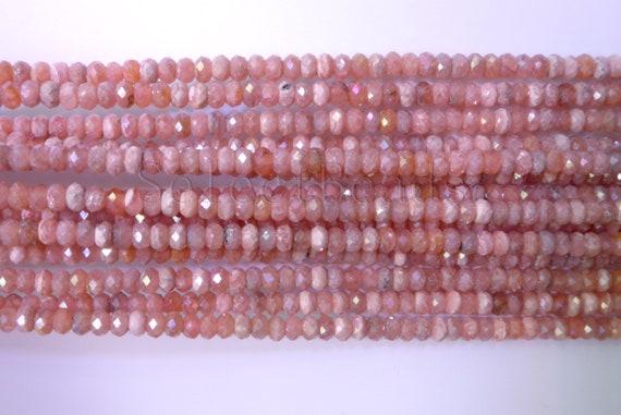 Natural Rhodochrosite Faceted Rondelle Gemstone Loose Beads 8-12mm 16 Strand