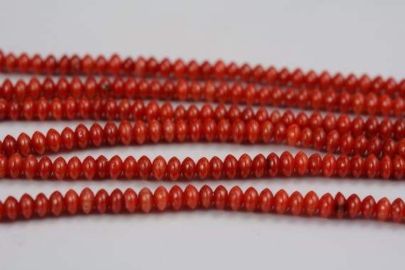 "New 4x8mm Red Natural Sea Coral Abacus Loose Beads15/"" strand"