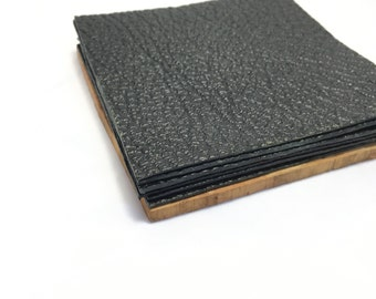 Set of 6   Black Leather Coasters