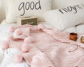 Pink Pom Pom Throw Blanket, Fluffy Pom Pom Throw, Pink Knitted Throw, Pink Sofa Throw, Bed Throw, Pink Blankets Throws, Free Delivery