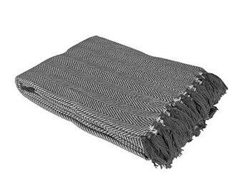 Pom Pom Grey Throw Blanket Grey Sofa Throw Grey Bed Throw | Etsy