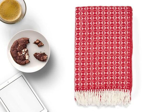 Rot Weiss Werfen Decke 100 Wolle Rotes Weisses Sofa Werfen Etsy